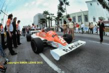"ARROWS A3 Riccardo Patrese. Pit lane Long Beach GP 1981. 10x7"" photo"
